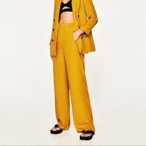 Zara Mustard Highwaisted Wide Leg Trouser Palazzo